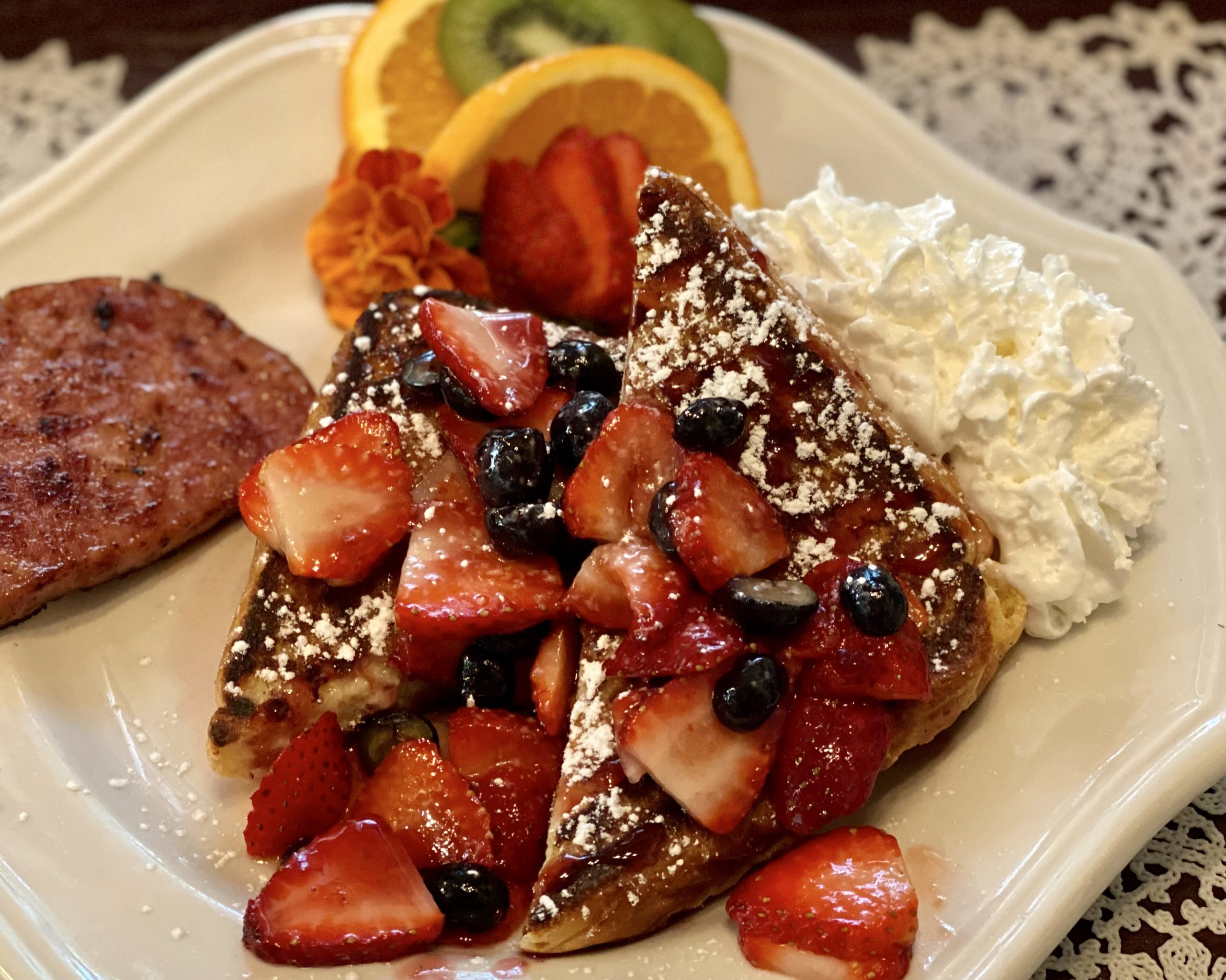 Stuffed French Toast with Berry Sauce